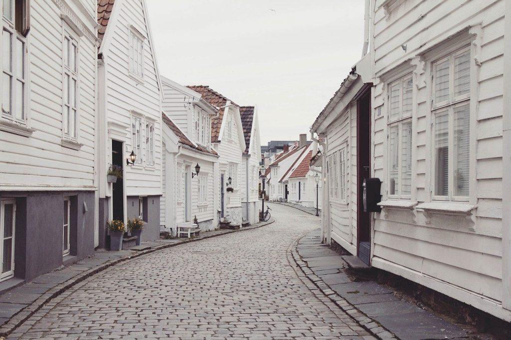houses, neighborhood, cobblestones